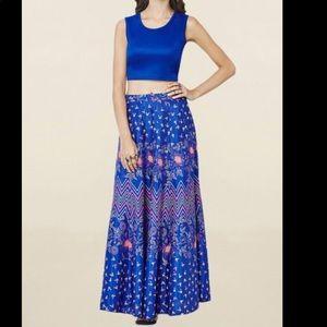 Blue crop top and maxi skirt. Set